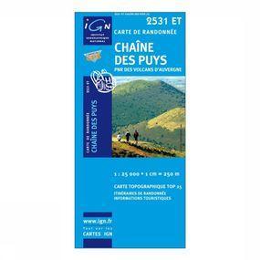 Wandelkaart Chaîne des Puys / PNR des Volcans d'Auvergne