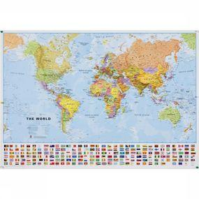 Map World Political + flags